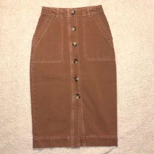 FREE PEOPLE Brown button down Midi Skirt